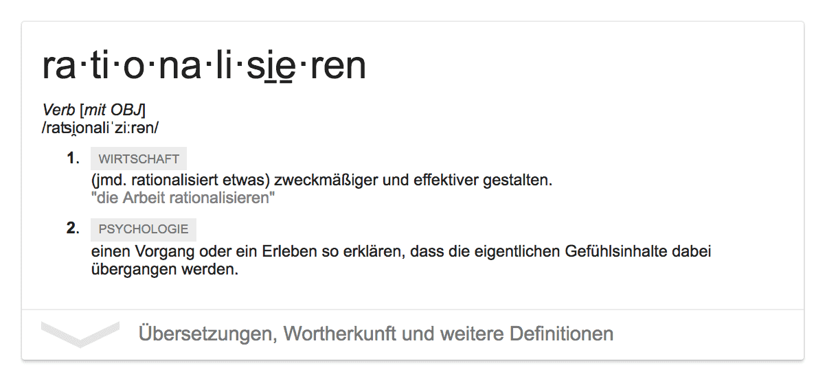 Rationalisieren Definition Web