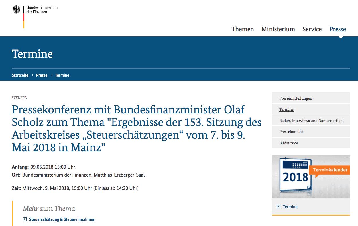 Einladung Pressekonferenz Scholz Bundesfinanzministerium ARD Tagesschau
