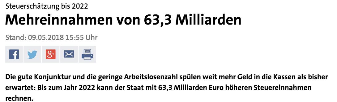 Fake Nachricht ZDF Tagesschau Steuereinnahmen