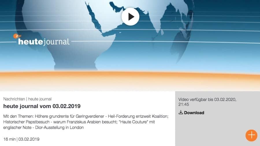Aktuelles Fake News von ZDF Heute Journal 2019