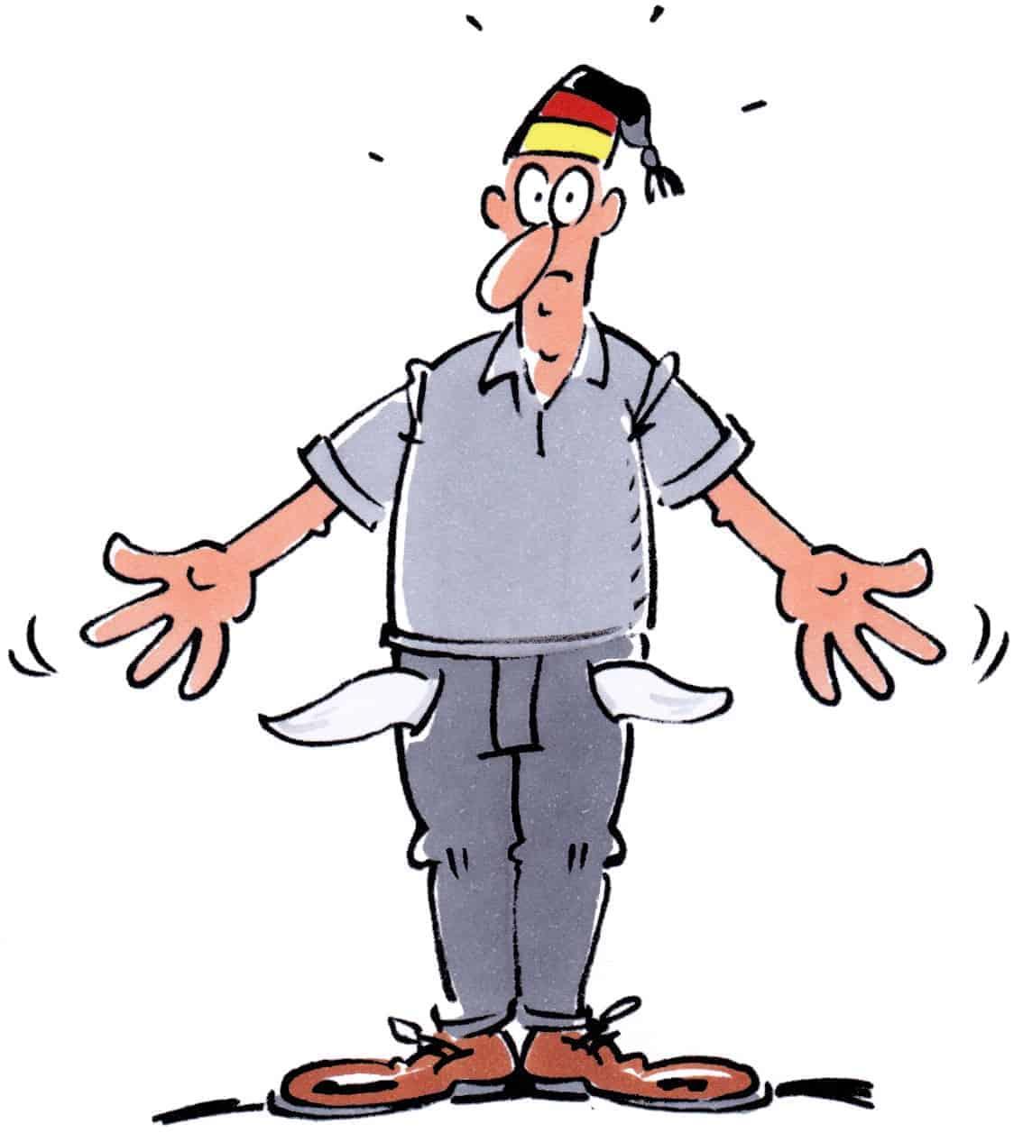 Deutscher Michel mit leeren Taschen